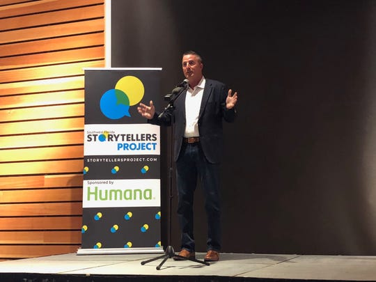 Michael Sullivan of Cape Coral tells his story about how he fell in love with his best friend and business partner, Dawn, during the Southwest Florida Storytellers Project on Jan. 30, 2019, at Naples Botanical Garden.