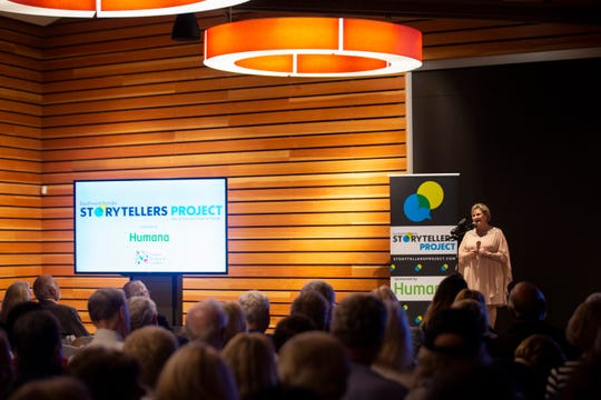 Lacey King tells her story of finding love late in life during the Southwest Florida Storytellers Project at the Naples Botanical Garden in Naples, on Wednesday, January 30, 2019.