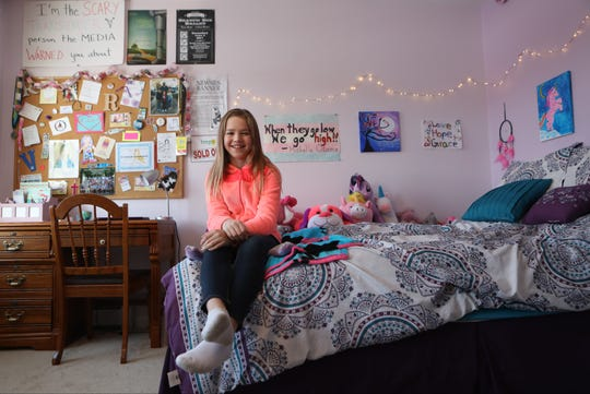 Rebekah Bruesehoff, 12, of Vernon, poses for a photograph in her bedroom.  Bruesehoff is identified as a male on her birth certificate but on February 1, she will be able to fill out a form to change her sex on the document.  Bruesehoff has known since the age of 8 that she is transgender. The Babs Siperstein Law, which goes into affect in February, allows a third option on a birth certificate. Tuesday, January 21, 2019