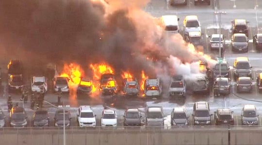 Car fires burning at Newark Liberty International Airport on Jan. 31, 2019, as low temperatures gripped the region.