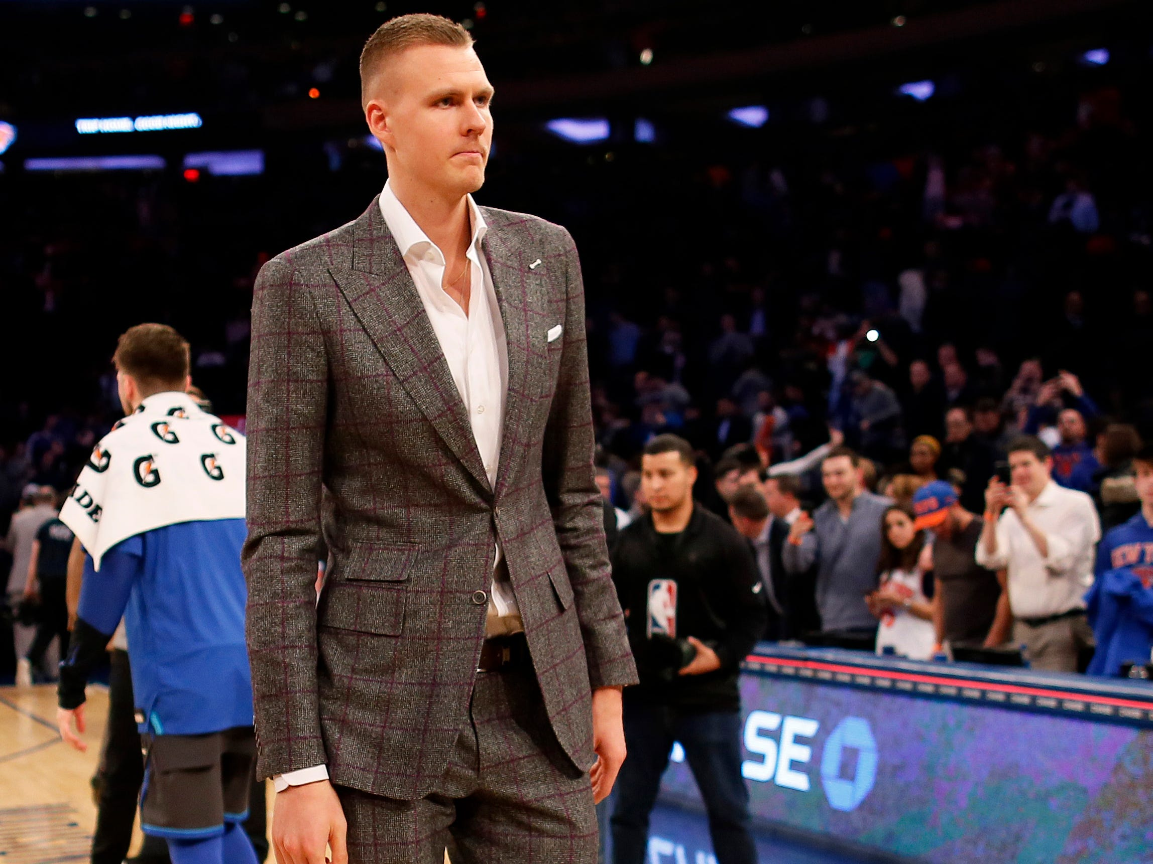 Jan 30, 2019; New York, NY, USA; New York Knicks forward Kristaps Porzingis (6) walks off the court after losing to the Dallas Mavericks at Madison Square Garden.