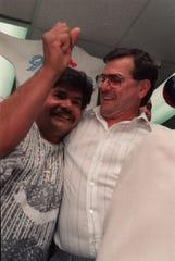 Joe Lipari, right, as he celebrated his victory as Passaic mayor on May, 9, 1989.