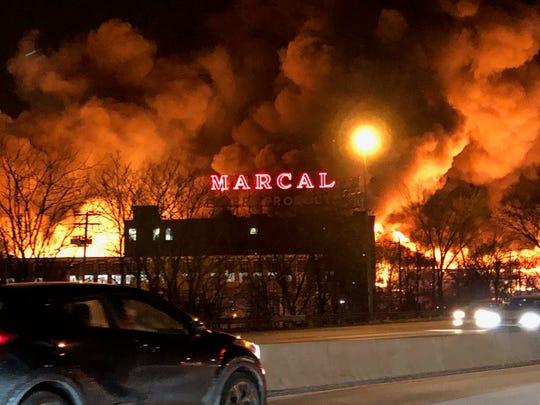A fire blazes at Marcal Paper in Elmwood Park on Wednesday, Jan. 30