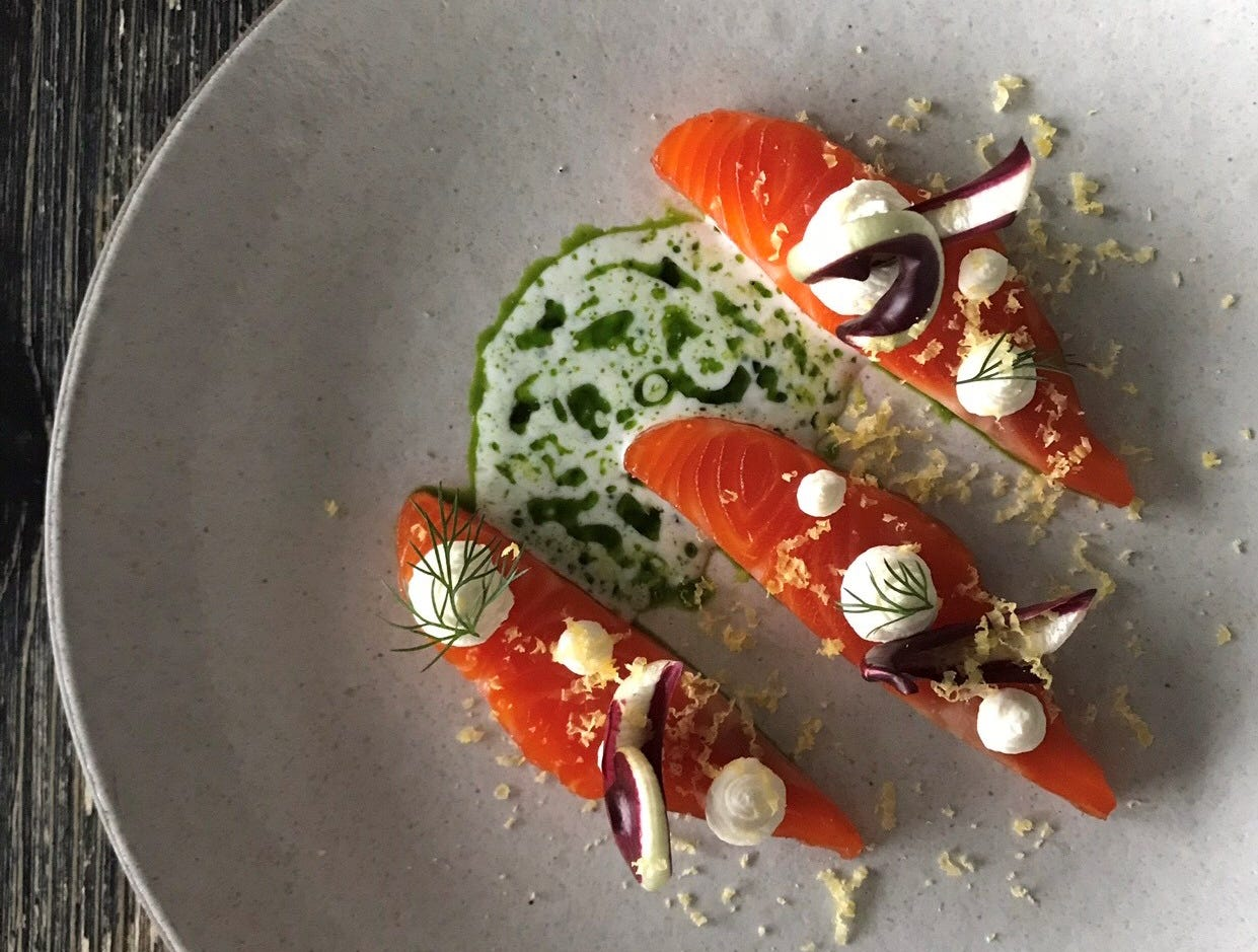 """One heck of a great trout dish you might just have at Viaggio's """"chef's bar."""""""