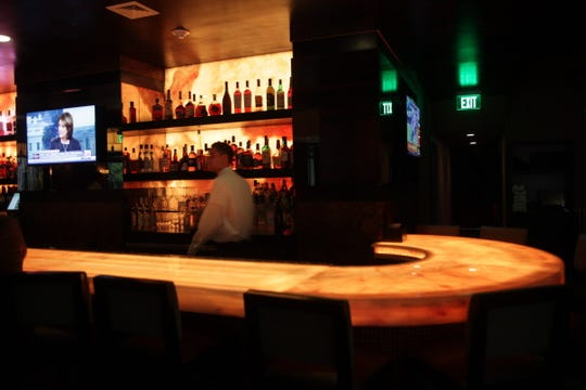 The bar at Sear House, a 220-seat modern steakhouse in Closter