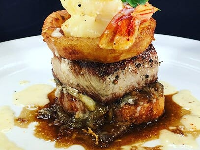 Common Lot's version of surf and turf: sirlion and shrimp