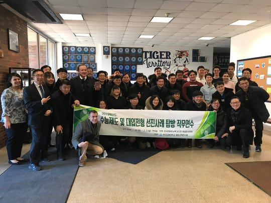 South Korean educators visited Palisades Park on Jan. 31 to learn how students prepare for life after college.