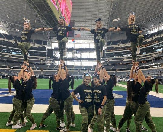 Wayne Valley cheerleaders performing at At&T Stadium, home of the Dallas Cowboys.