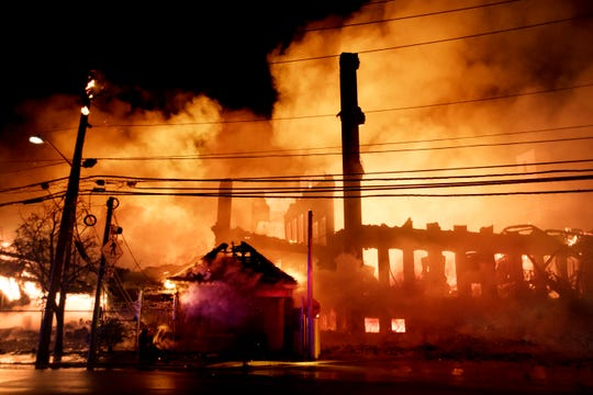 A fire rages at the main building of Marcal Paper in Elmwood Park on Wednesday, January 30, 2019.