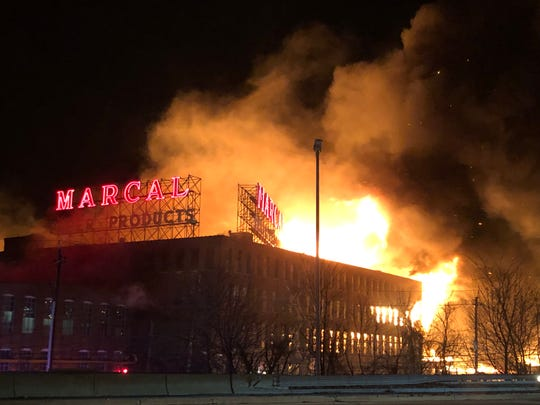 The fire at Marcal Paper as seen from Route 80 around 8 p.m. on Wednesday, Jan. 30, 2019.