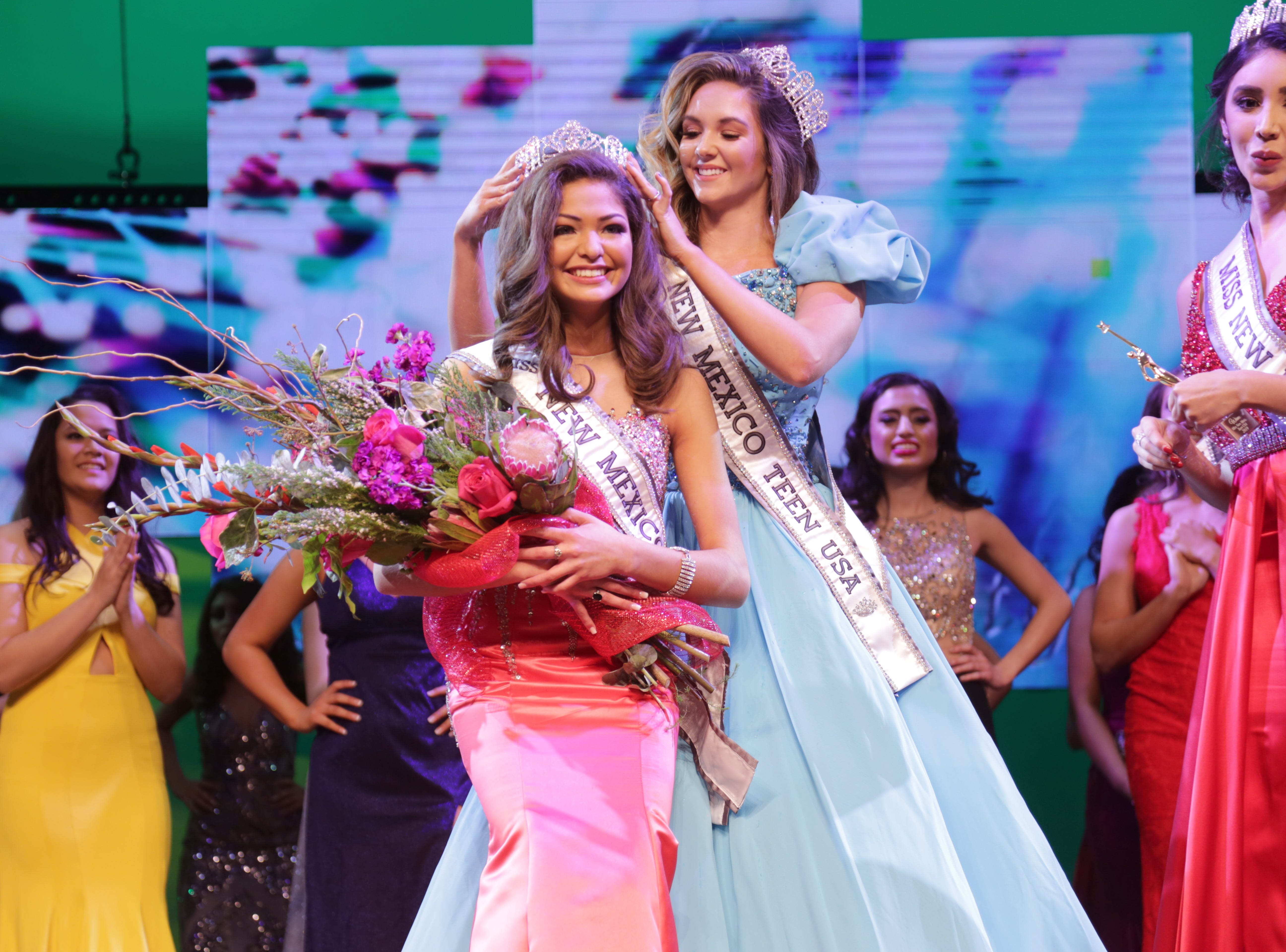 Angela Nanez, 14, getting crowned Miss New Mexico Teen USA 2019.