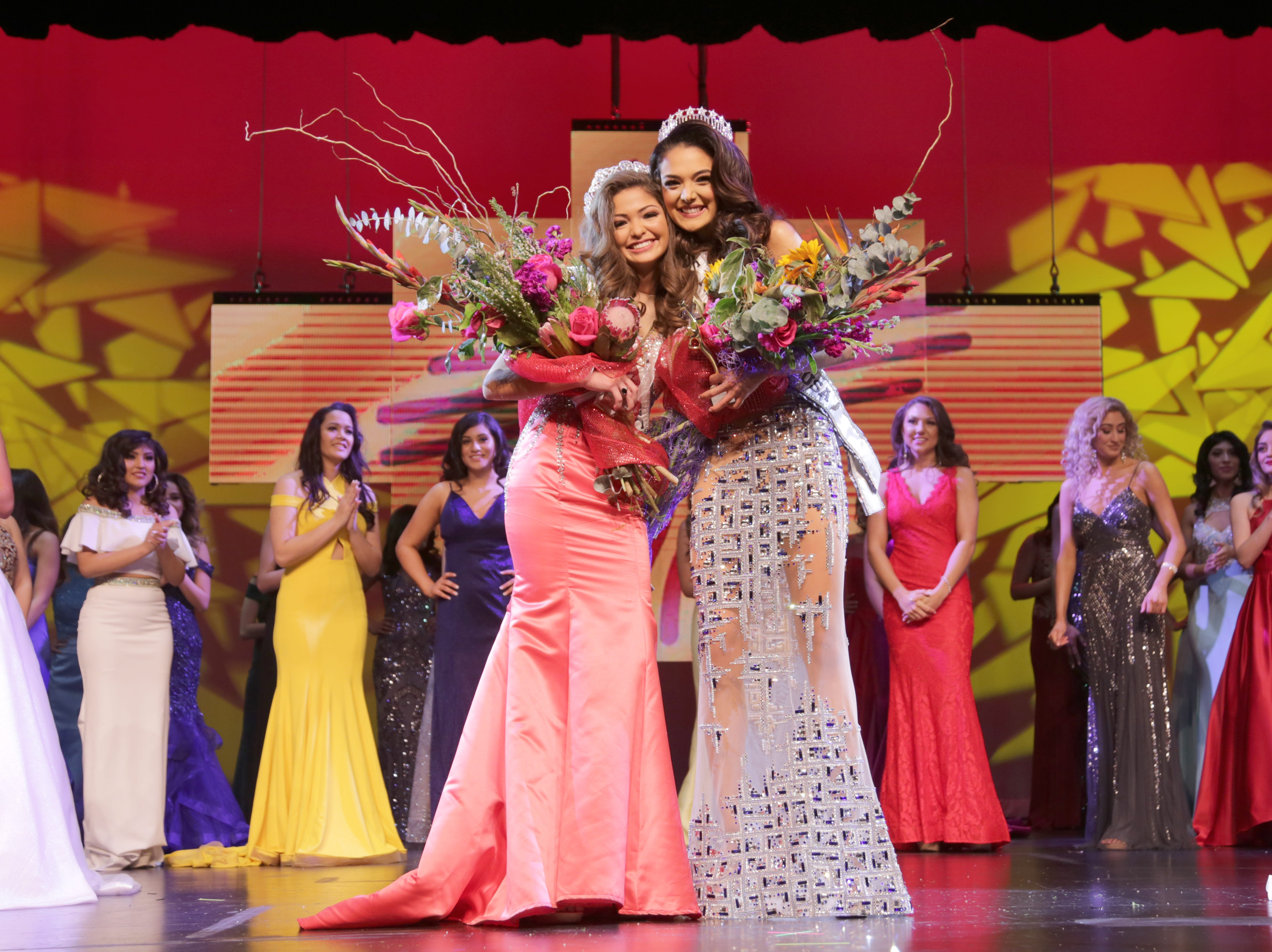 "Miss New Mexico Teen USA 2019 Angela Nanez, left, stands with Miss New Mexico USA 2019 Alejandra ""Allie"" Gonzalez at the Miss New Mexico USA 2019 pageant in Las Cruces Sunday, Jan. 27."