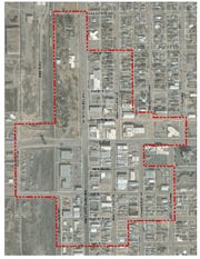 The Alamogordo Downtown Area is outlined in red.