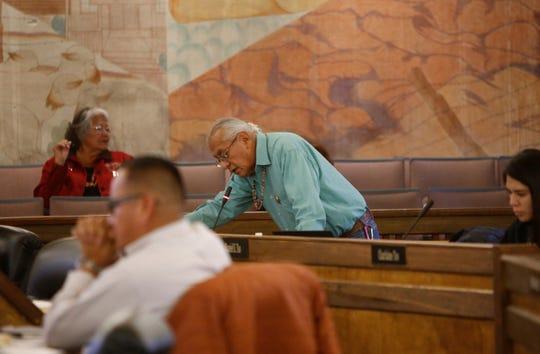 Navajo Nation Council Delegate Daniel E. Tso, center, suggests amending language for a bill that lists priorities for state lawmakers to address during the New Mexico legislative session.