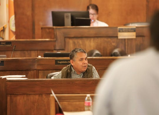 Navajo Nation Council Delegate Kee Allen Begay Jr. sponsors a bill Wednesday in Window Rock, Ariz., that lists priorities the tribe would like New Mexico lawmakers to address during their legislative session.