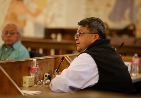 Navajo Nation Council Delegate Edmund Yazzie talks about an amendment to fund construction of a police station in Shiprock during a Naa'bik'íyáti' Committee meeting on Wednesday in Window Rock, Ariz.