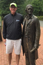 Brad Emons talks sports with Thomas Jefferson at Monticello.