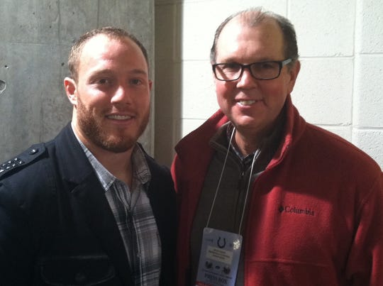 Brad Emons (left) with former Clarenceville all-state player, Penn State grad and NFL player Tim Shaw.