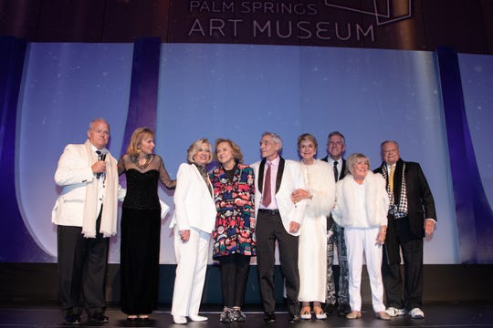 (l-r) Museum Chairman Steve Maloney, Honorary Gala Chair Gwendolyn Weiner, $5 million donor honorees Helene Galen, Faye Sarkowsky, David Kaplan, Donna MacMillan, Glenn Ostergaard, Dorothy Meyerman and Harold Matzner.