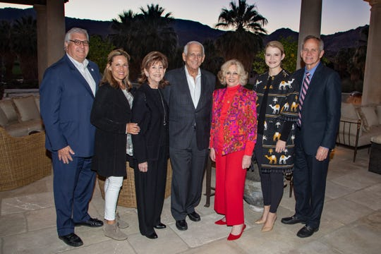 (l-r)  (Left to right)  John Thoresen, BSCC Executive Officer, Cheryl Thoresen, Diane Gershowitz, Co-Chairman Hal Gershowitz and Helene Galen, 2019 Champion Elizabeth Smart and father Ed Smart, who attended the Sponsors Reception at the Gershowitz residence.