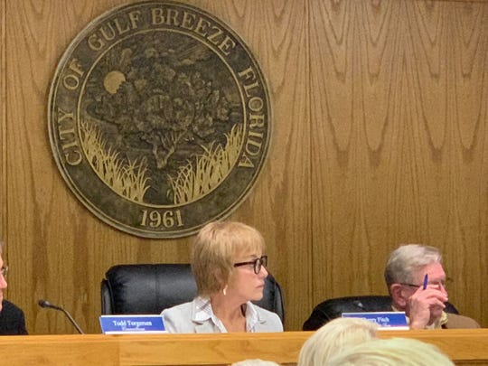 Mayor Pro Tem Cherry Fitch listens during Wednesday night's Gulf Breeze City Council executive session.