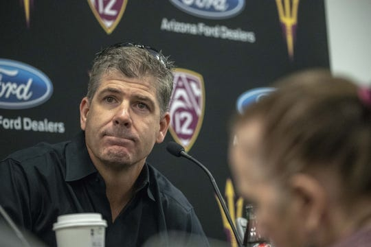 Offensive coordinator Rob Likens during the ASU Spring Football media day at ASU Tempe campus.