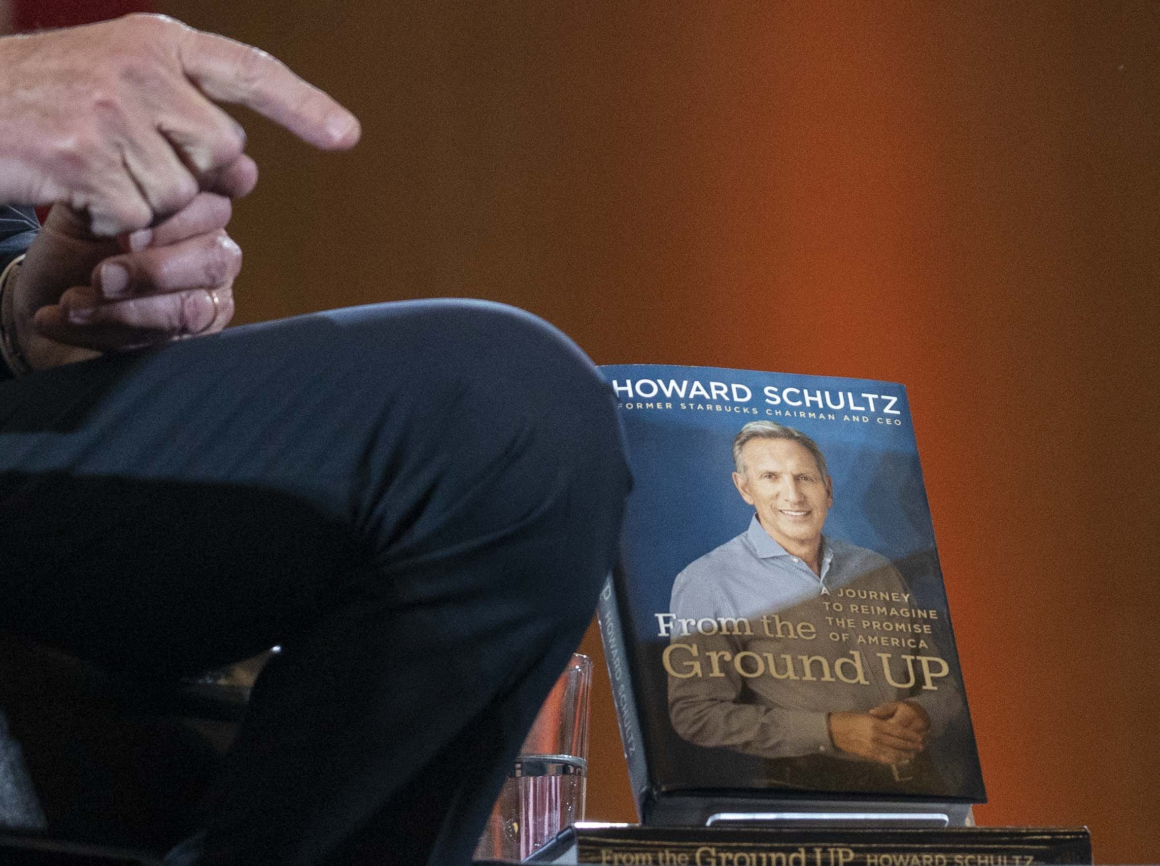 Former Starbucks CEO Howard Schultz's book rests on a table at a town hall at ASU on Jan. 30, 2019.