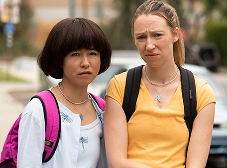 "Maya Erskine (left) and Anna Konkle star in ""PEN15."""