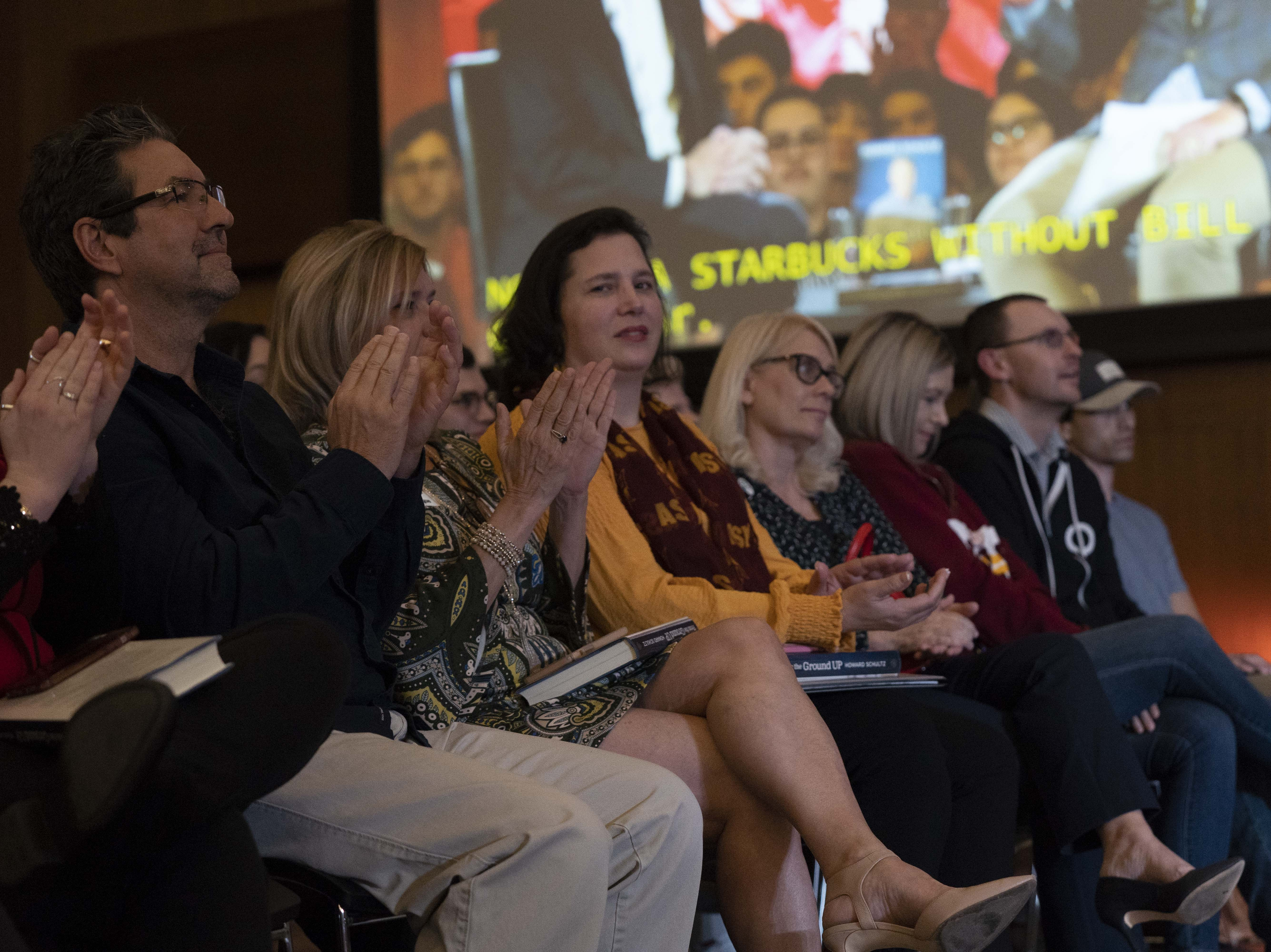 People listen as former Starbucks CEO Howard Schultz holds a town hall with Arizona State University President Michael Crow on Jan. 30, 2019.