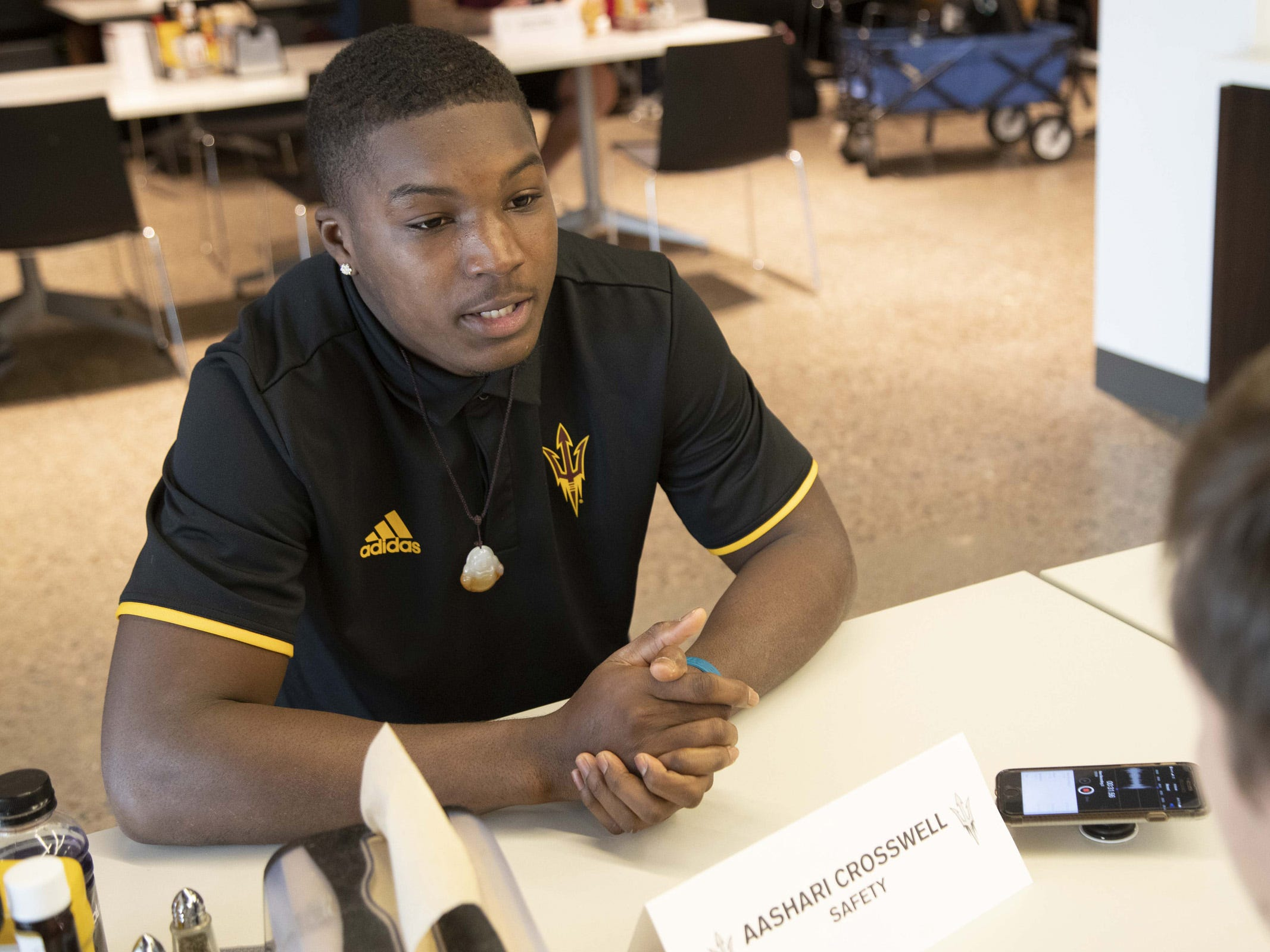 ASU Safety, Aashari Crosswell during the ASU Spring Football media day at ASU Tempe campus.