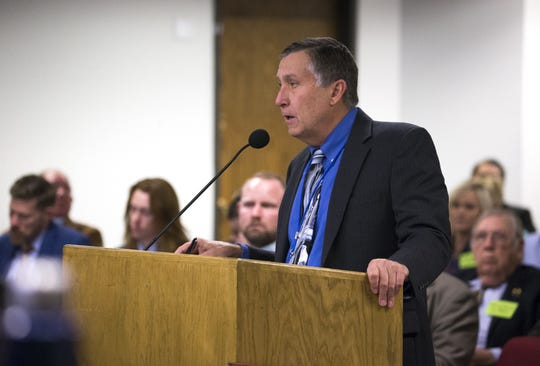 Tom Buschatzke, director of the Arizona Department of Water Resources, speaks during a hearing on SB 1227, Jan. 30, 2019, at the Arizona Senate Water and Agriculture Committee at the Arizona Capitol.