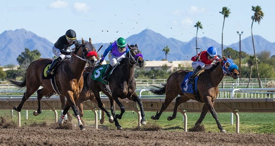 Riders make the home stretch during the first race at Turf Paradise in Phoenix Jan. 22, 2019.