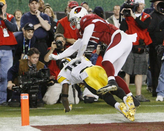 Pittsburgh Steelers Santonio Holmes'  feet as he make the winning touchdown catch against the Arizona Cardinals in Super Bowl XLIII.