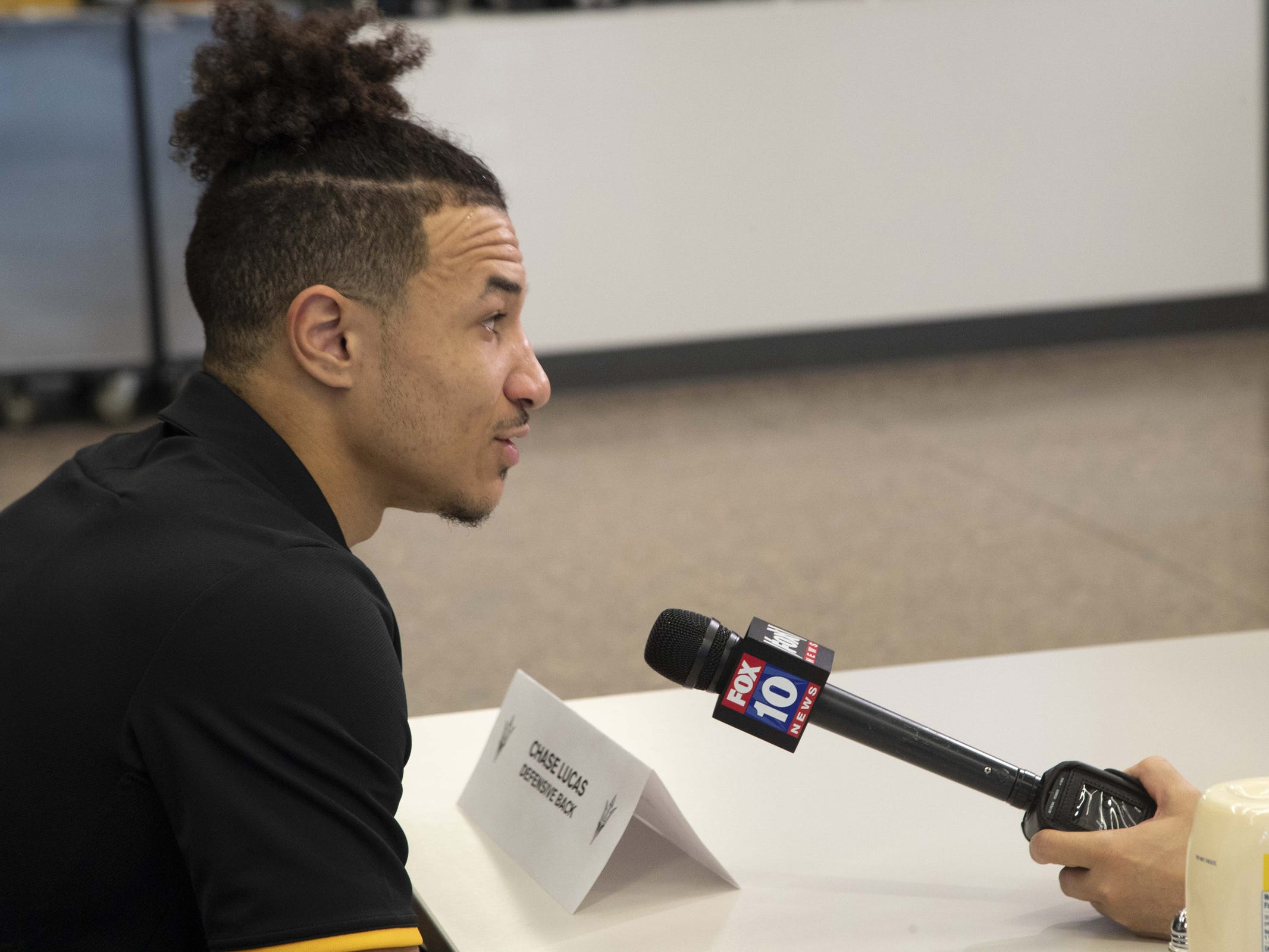 ASU Defensive Back, Chase Lucas during the ASU Spring Football media day at ASU Tempe campus.