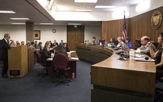 Ted Cooke (left), CAP GM, speaks during a hearing on SB 1227, Jan. 30, 2019, at the Arizona Senate Water and Agriculture Committee at the Arizona Capitol.