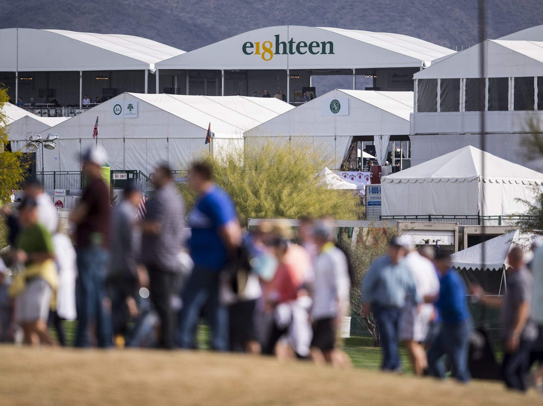 The 18th hole is pictured during the first round of the Waste Management Phoenix Open.