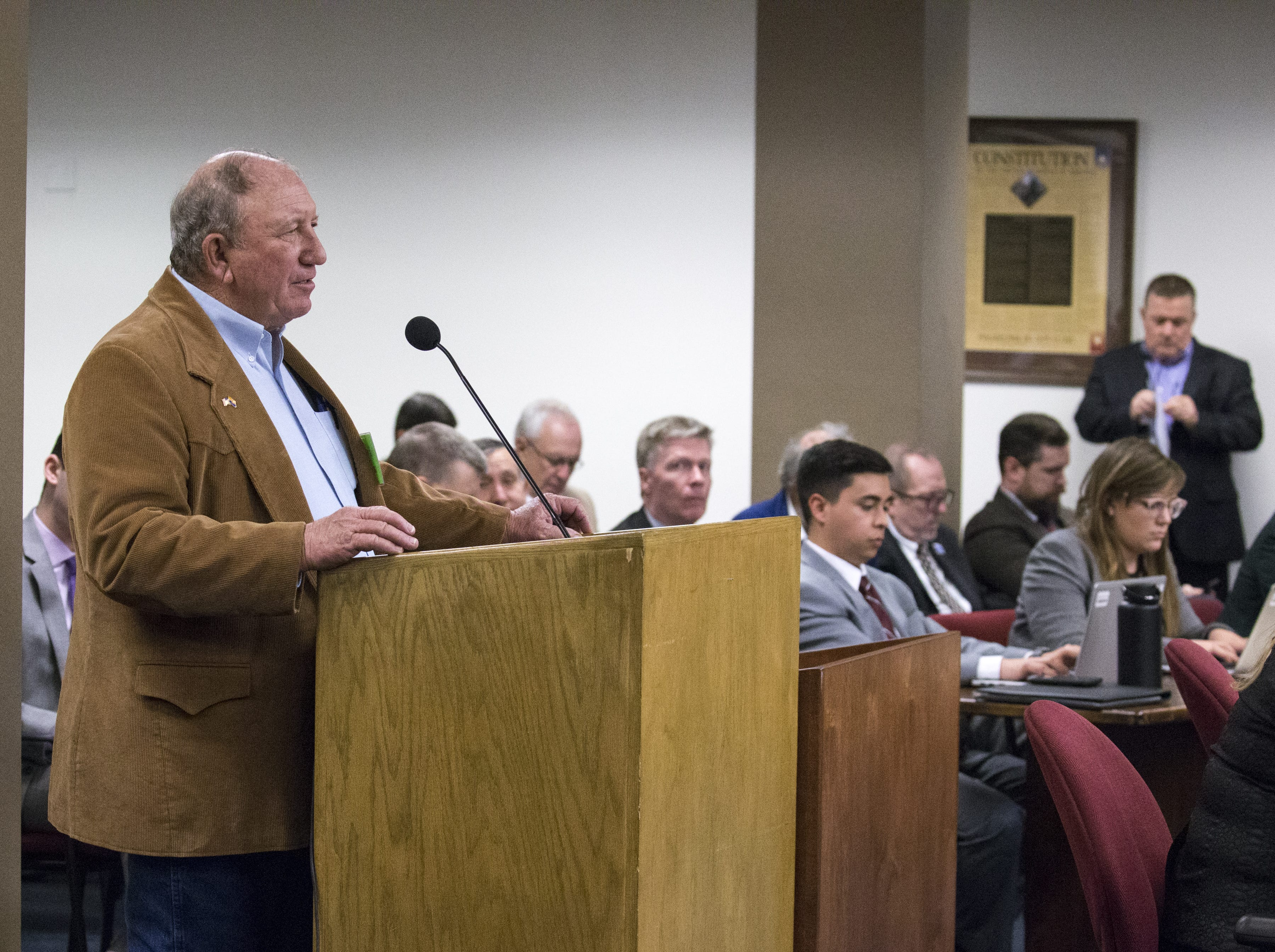 Pinal County Supervisor Steve Miller speaks during a hearing on SB 1227, Jan. 30, 2019, at the Arizona Senate Water and Agriculture Committee at the Arizona Capitol.
