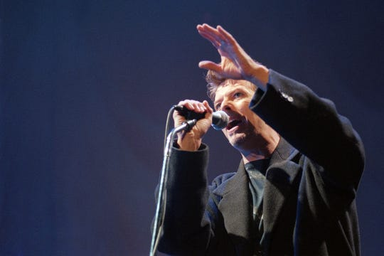 David Bowie performs at the Palais Omnisport of Paris Bercy, on February 21, 1996.