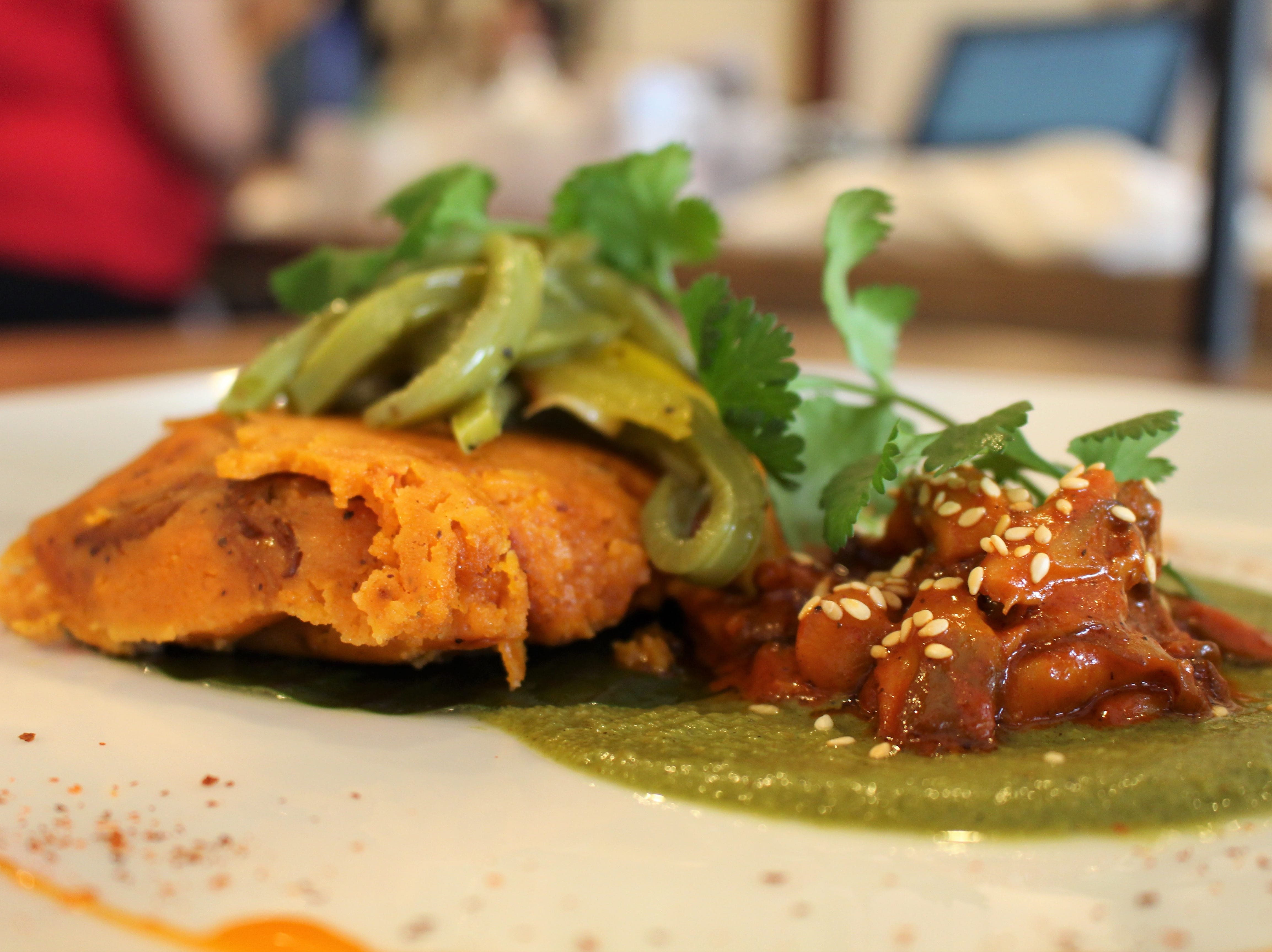 Casa Terra, a vegan fine dining restaurant in Glendale, serves a sweet potato tamal filled with pibil-style oyster mushrooms.