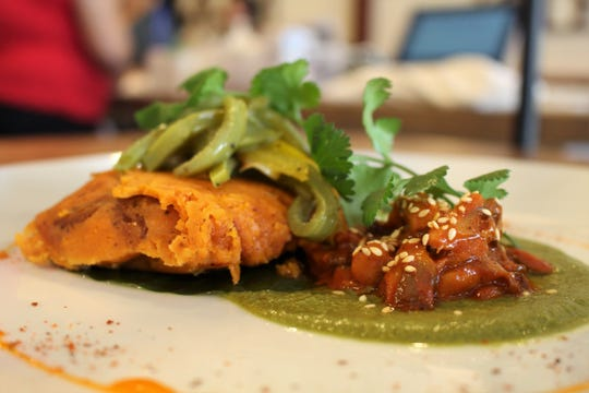 Casa Terra, a vegan fine-dining restaurant in Glendale, serves a sweet potato tamal filled with pibil-style oyster mushrooms.