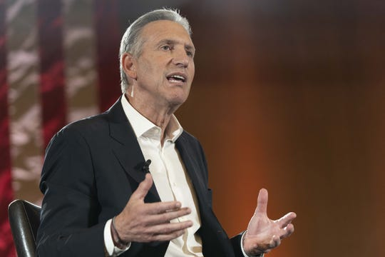 Former Starbucks CEO Howard Schultz holds a town hall with Arizona State University President Michael Crow on Jan. 30, 2019.
