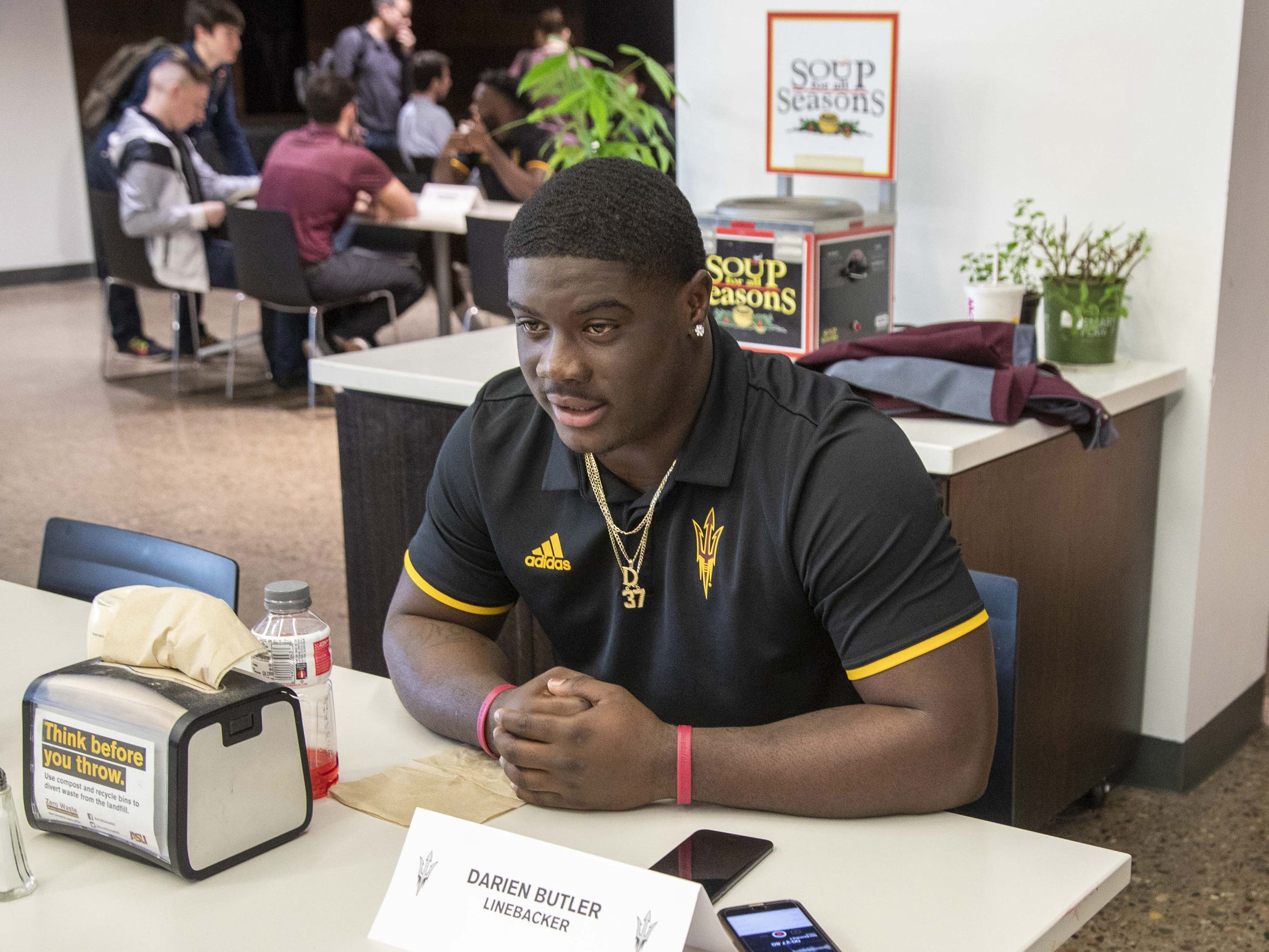 ASU Linebacker Darien Butler during the ASU Spring Football media day at ASU Tempe campus.