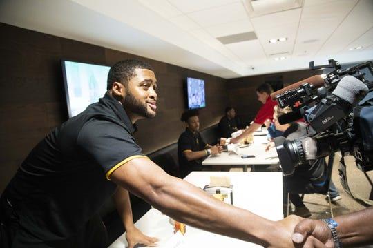 ASU Quarterback, Dillon Sterling-Cole during the ASU Spring Football media day at ASU Tempe campus.