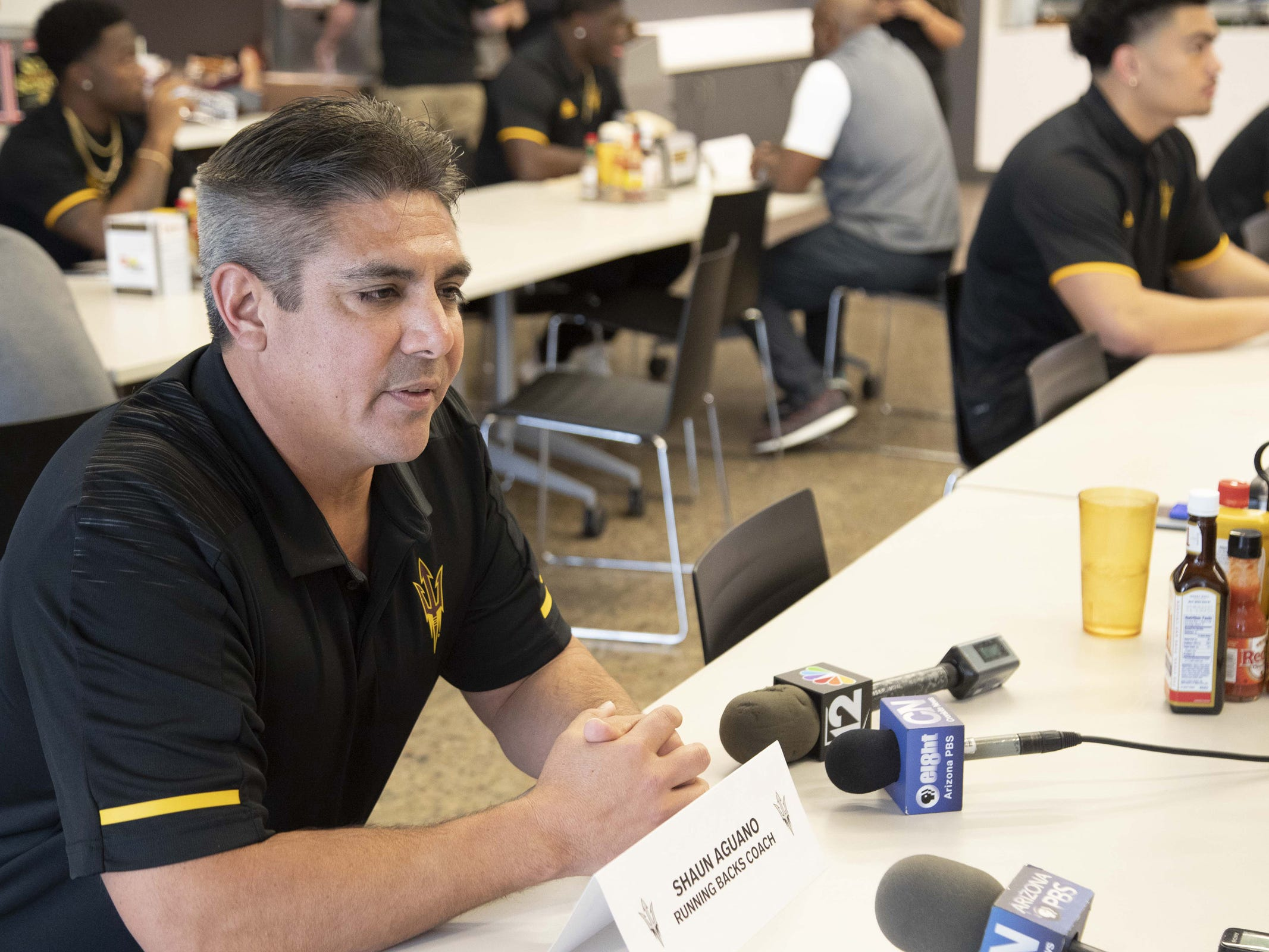 Running Backs Coach Shaun Aguano during the ASU Spring Football media day at ASU Tempe campus.