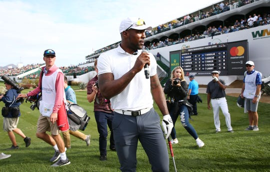 Arizona Cardinals cornerback Patrick Peterson apologizes on the 16th tee box for asking to be traded last season and he says he will stay with the Cardinals during the Phoenix Suns Charities Shot at Glory hole-in-one contest on Jan. 30 at the TPC Scottsdale Stadium Course.