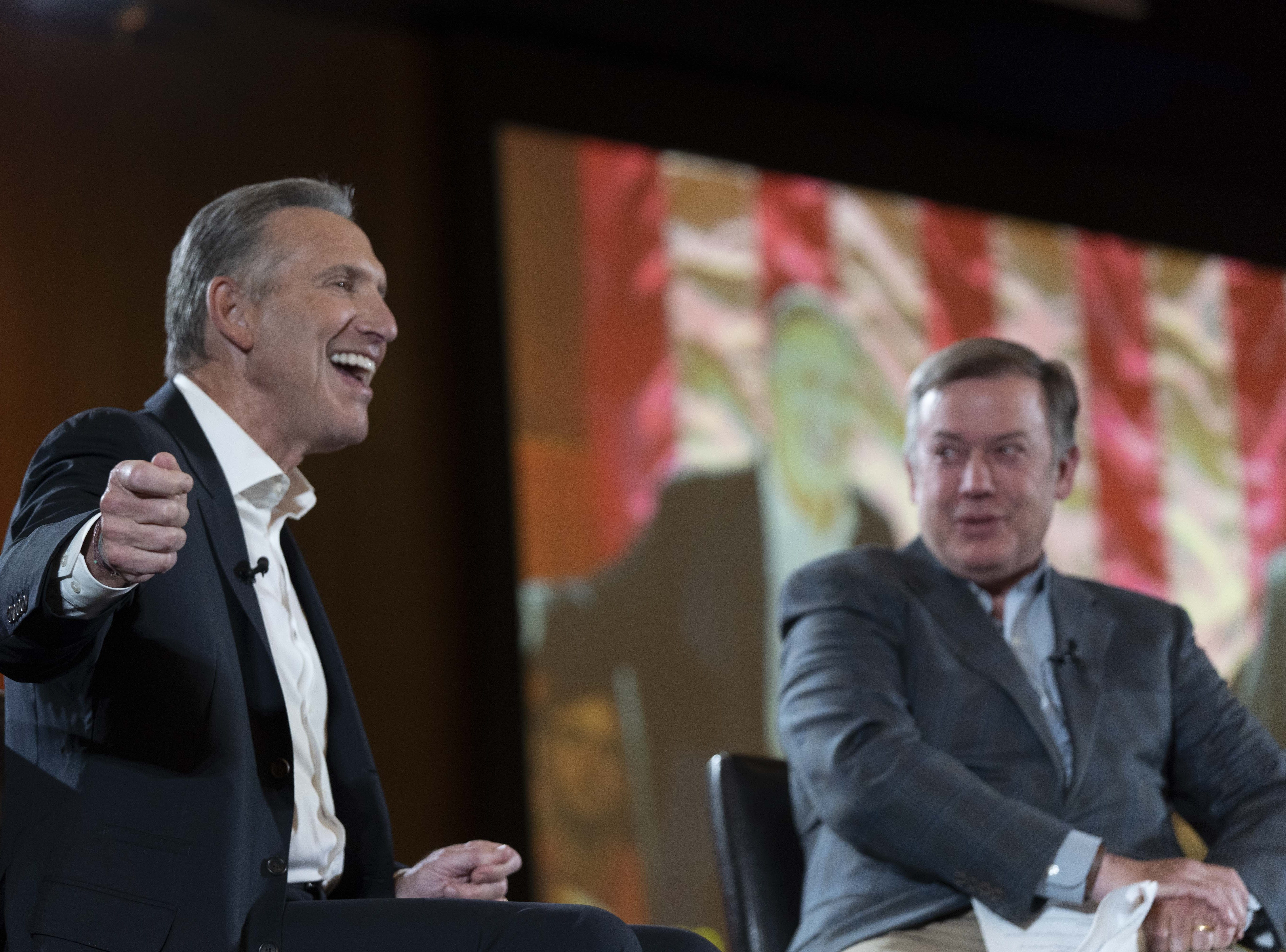 Former Starbucks CEO Howard Schultz (left) holds a town hall with Arizona State University President Michael Crow on Jan. 30, 2019.