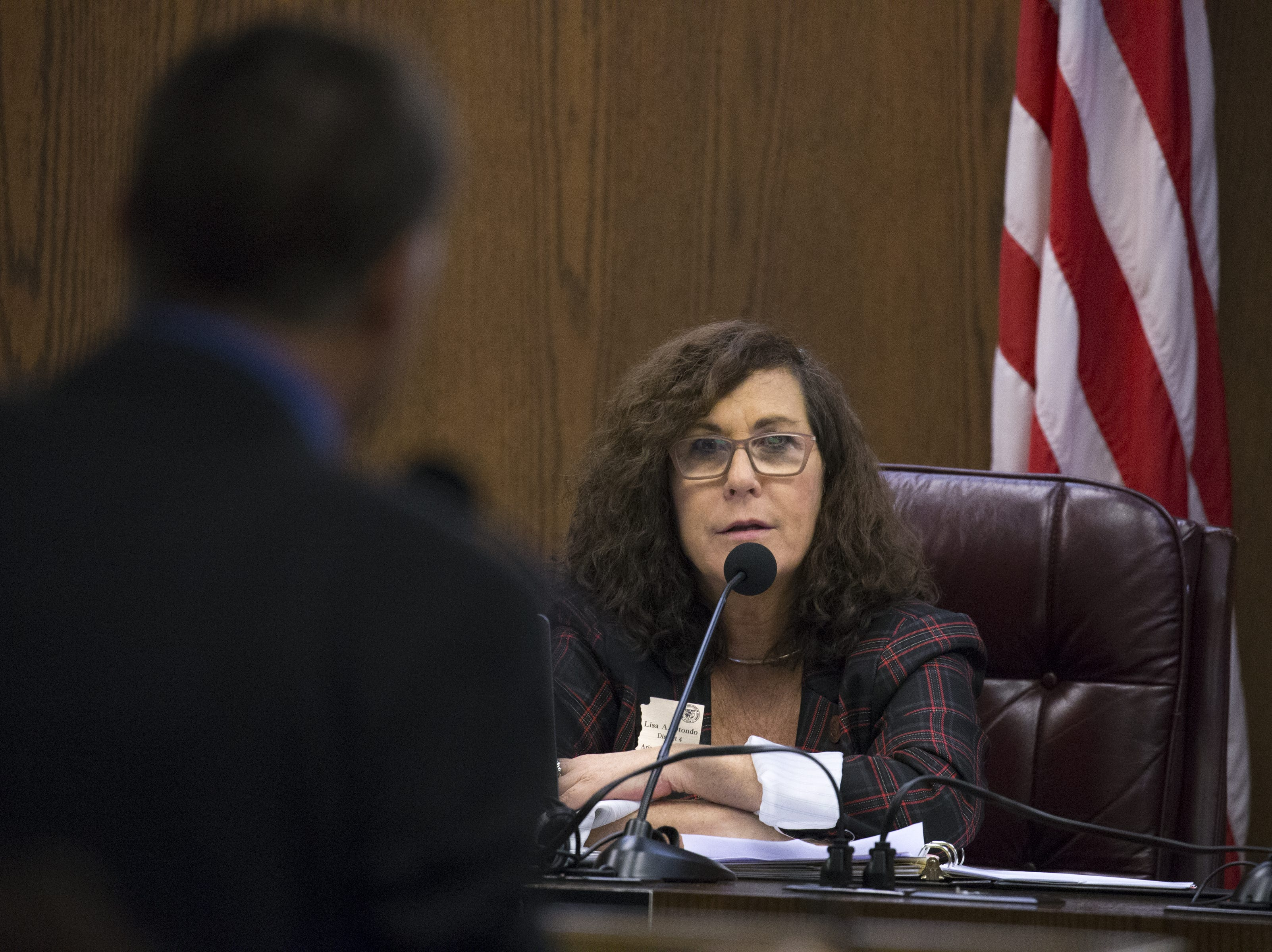 Sen. Lisa Otondo speaks during a hearing on SB 1227, Jan. 30, 2019, at the Arizona Senate Water and Agriculture Committee at the Arizona Capitol.