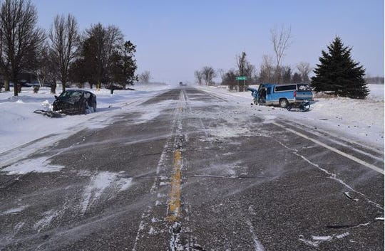 Two men were hospitalized following a crash in Burnside Township Wednesday. Blowing snow is believed to be a factor in the crash.