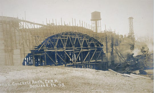 As you passed by Scotland in 1908 you had the opportunity to see the building of the new concrete bridge.