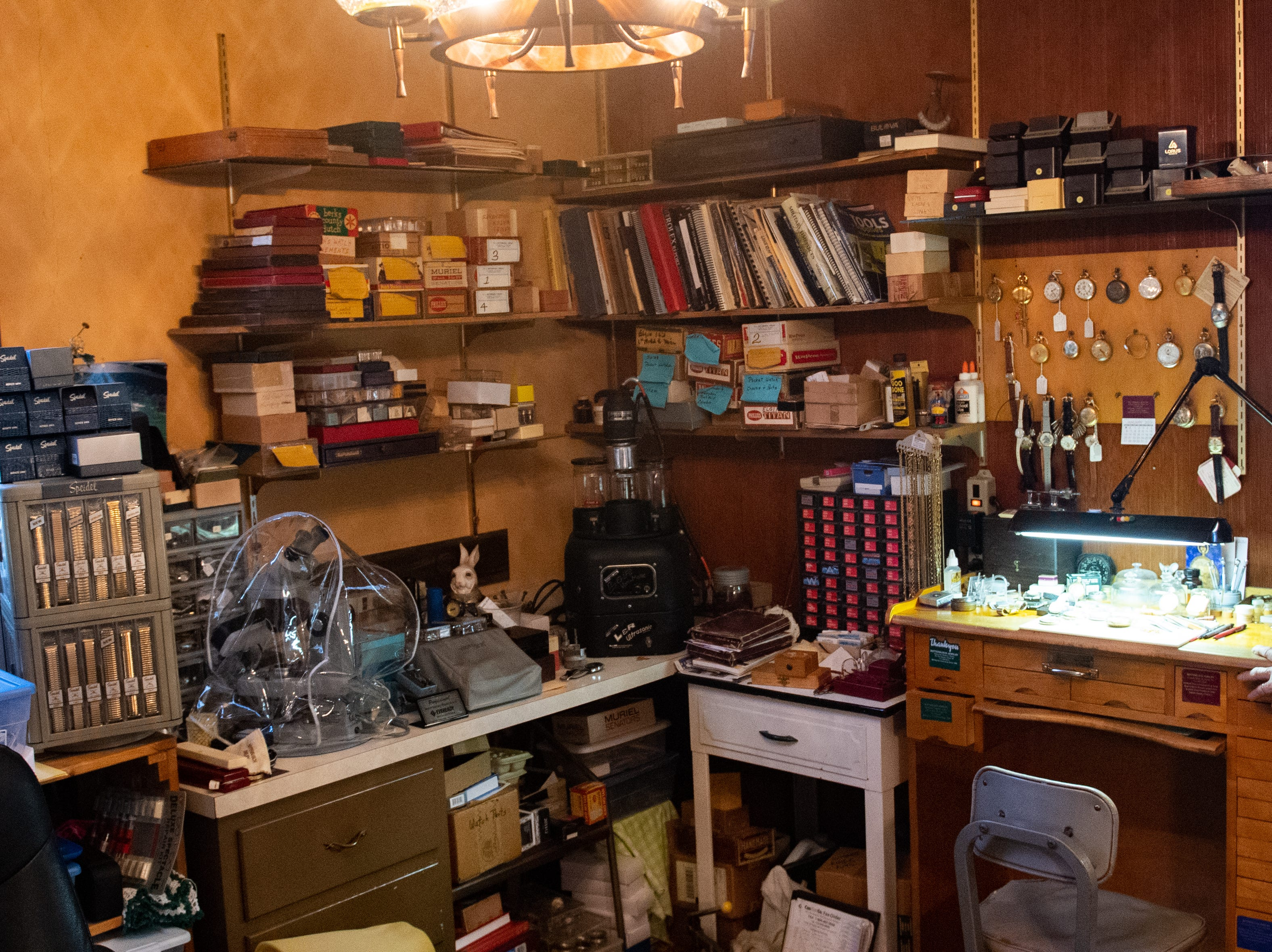 This is the work space next to Ronald Botterbusch's desk, January 30, 2019.